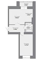 2 комнатная квартира в ЖК Adal 51.37 м², фото 1