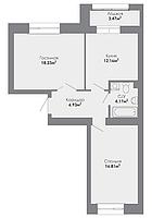 2 комнатная квартира в ЖК Adal 60.9 м², фото 1