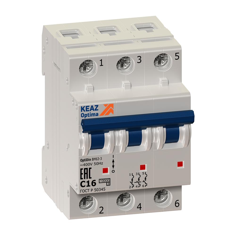 Выключатель автоматический модульный OptiDin ВМ63-3B2-УХЛ3 (Новый) КЭАЗ