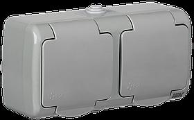 Розетка РСш22-2-А 2-ая с заземляющим контактом открытой установки 16А IP54 AQUATIC ИЭК