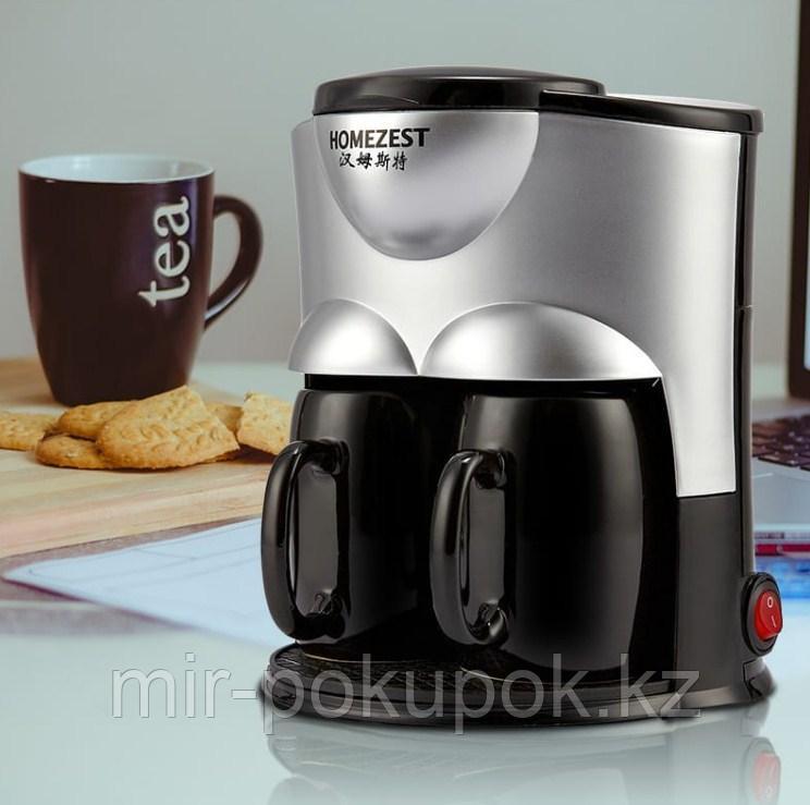 Автоматическая капельная мини-кофемашина  с фильтром HOMEZEST CM - 802 (кофеварка на две чашки)