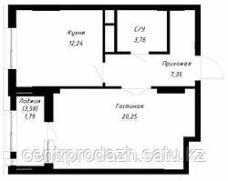 1 комнатная квартира в ЖК OnlySun 46.3 м²