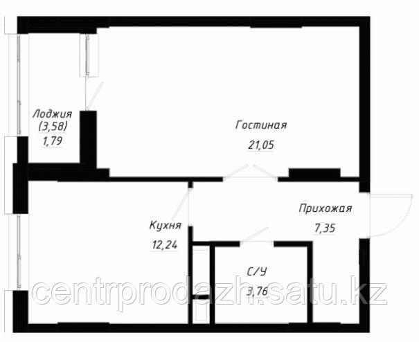 1 комнатная квартира в ЖК OnlySunMoon 47.9 м²
