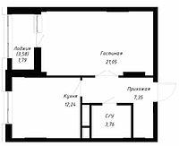 1 комнатная квартира в ЖК OnlySunMoon 47.9 м², фото 1