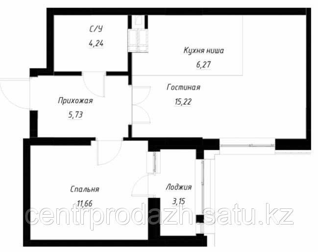 2 комнатная квартира в ЖК OnlySun45.5 м²