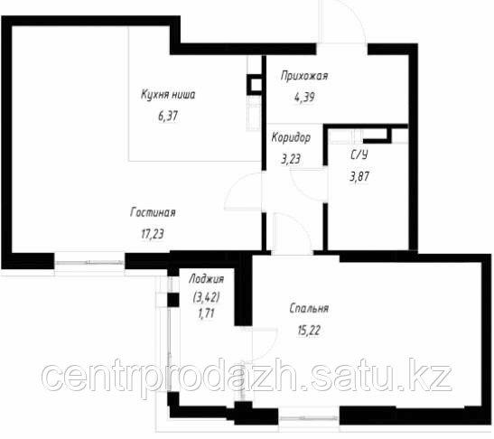 2 комнатная квартира в ЖК Only Sun 52.9 м²