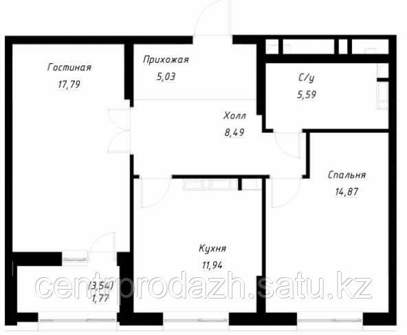 2 комнатная квартира в ЖК Only Sun 66.4 м²