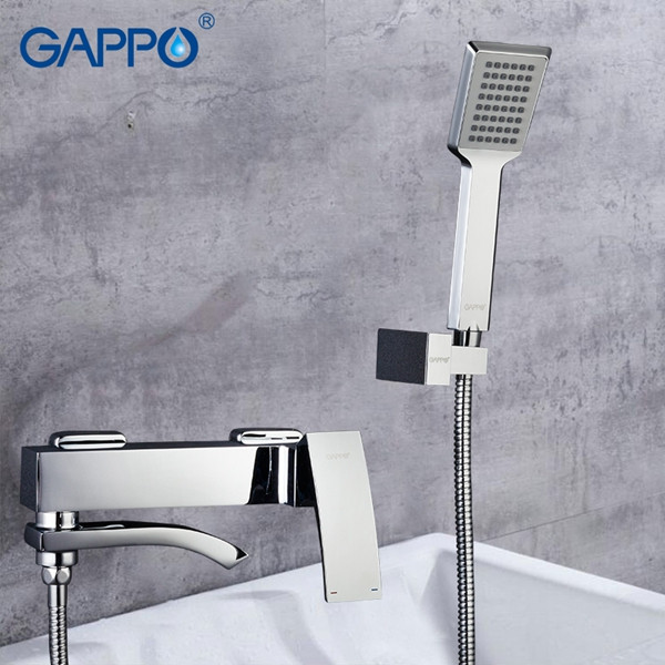 Смеситель ванна-душевой GAPPO с изливом, который служит переключателем на лейку в корпусе хром, G3207
