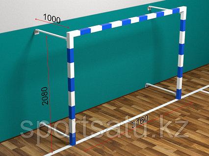 Ворота минифутбольные/гандбольные складные, пристенные 80х80 3*2*1м