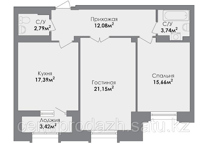2 комнатная квартира в ЖК CrocusCity 75.38 м²