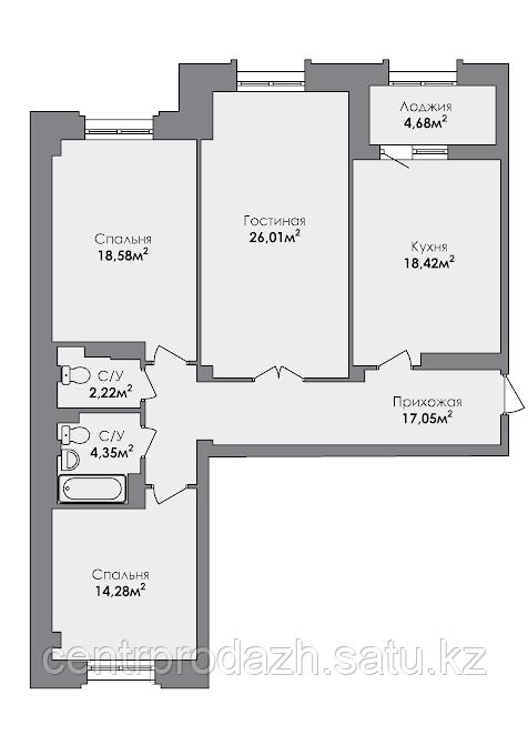 3 комнатная квартира в ЖК CrocusCity 104.42 м²
