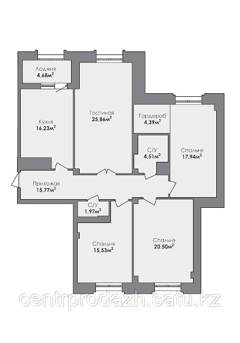 4 комнатная квартира в ЖК Crocus City 124.18 м²