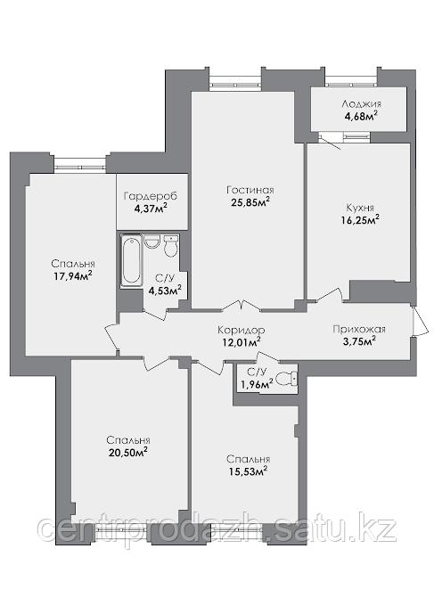 4 комнатная квартира в ЖК Crocus City 126.31 м²