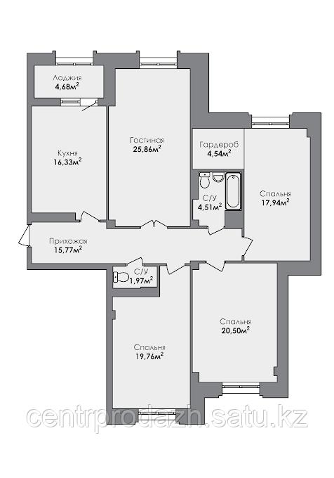 4 комнатная квартира в ЖК CrocusCity 130.69 м²