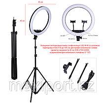 Профессиональная лампа кольцевая для фотоаппарата и смартфона M-45 (49 см) со штативом, фото 2