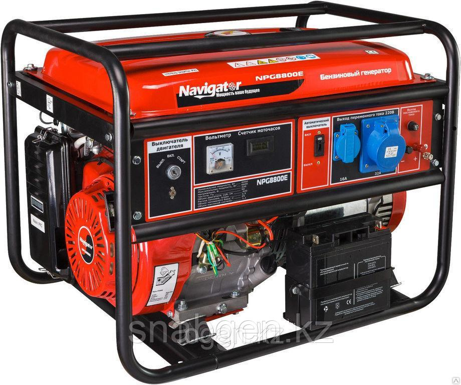 Генератор бензиновый NAVIGATOR NPG8800E с электростартером на колесах.
