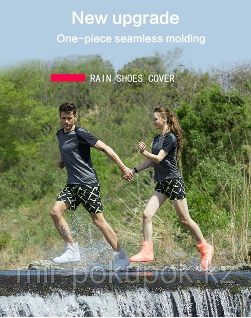 Бахилы силиконовые антискользящие прозрачные водонепроницаемые (дождевики для обуви) - фото 3
