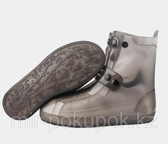 Бахилы силиконовые антискользящие прозрачные водонепроницаемые (дождевики для обуви) - фото 4