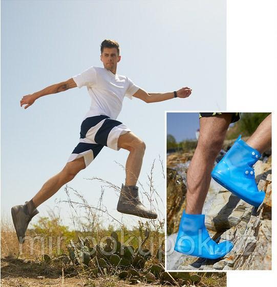 Бахилы силиконовые антискользящие прозрачные водонепроницаемые (дождевики для обуви) - фото 1