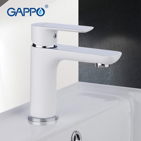 Смеситель для раковины GAPPO с гайкой, белый, в корпусе хром, G1048