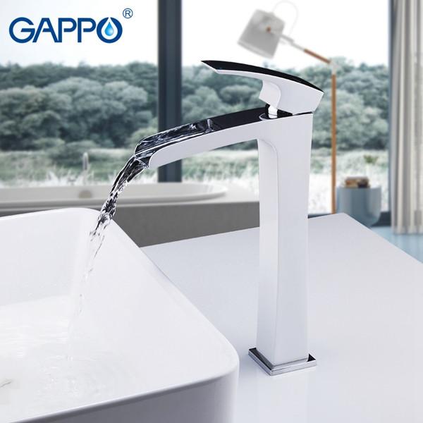 Смеситель для раковины GAPPO высокий, корпус белый/хром, G1007-31