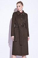 Пальто демисезонное, микроворс, 42-50, ореховое