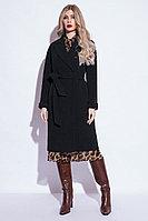 Пальто демисезонное, микроворс, 42-52, черное