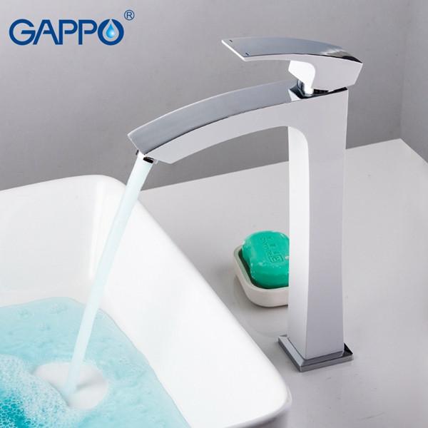 Смеситель для раковины GAPPO высокий с гайкой, корпус белый/хром, G1007-18