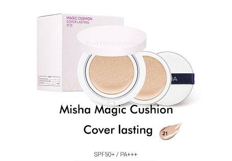 Кушон с экстрактом зеленого чая Missha Magic Cushion Cover Lasting SPF50+/PA+++ (Тон №21 со сменным блоком), фото 2