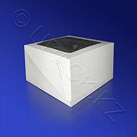 Kazakhstan Упаковка для пирожного 16,5х16,5х10см картон с окном белая 100шт/уп