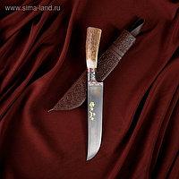 Нож Пчак Шархон, рукоять из рога косули малая, гарда с гравировкой