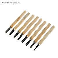 Набор резцов по дереву LOM, деревянная рукоятка, 8 шт.