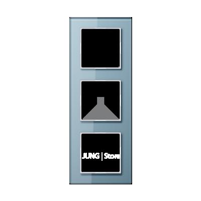 AC Рамка 3-ная, стекло голуб.