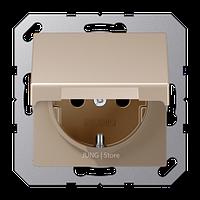 A500 Розетка с крышкой 2К+З 16 А 250В~ ударопрочная, шампань