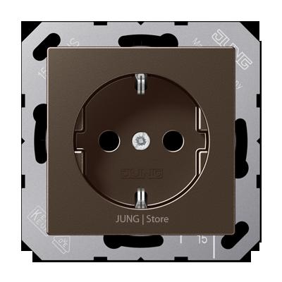 A500 Розетка со шторками 2К+З 16 А 250В~, цвет мокко