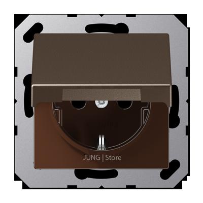 A500 Розетка с крышкой 2К+З 16 А 250В~ ударопрочная, мокка