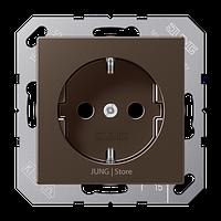A500 Розетка 2К+З 16А 250В~, цвет мокко
