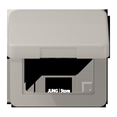 CD500 Накладка с крышкой для розетки 50х50, платин.