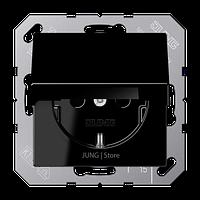 A500 Розетка с крышкой 2К+З 16 А 250В~, чёрн.