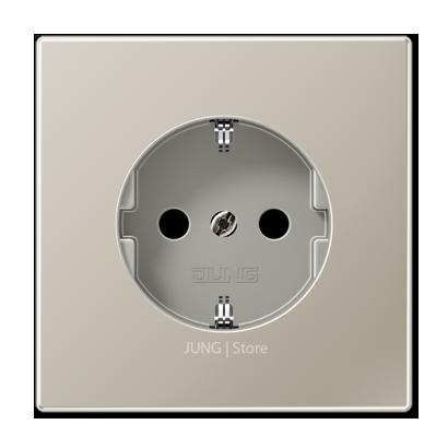LSmetal Розетка со шторками 2К+З 16А 250В~, стальн.