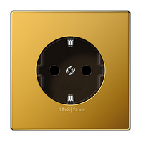 LS520KIGGO - Jung LSmetal Розетка со шторками 2К+З 16А 250В~, золото 24 кар.
