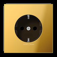 LSmetal Розетка 2К+З 16А 250В~, металл цвета золота