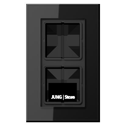LSplus Рамка 2-ная, стекло чёрн.