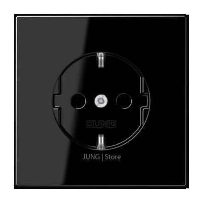 LS990 Розетка со шторками 2К+З 16А 250В~, чёрн.