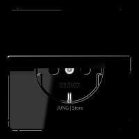 LS990 Розетка с крышкой 2К+З 16А 250В~, чёрн.