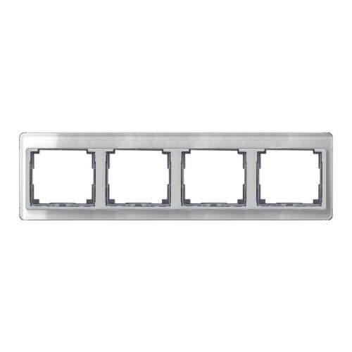 SL500 Рамка 4-ная горизонтальн., серебро