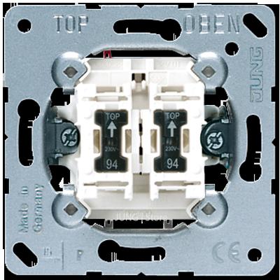 Jung Мех-зм выключателя 2-кл. 10А 250В~ с 2-мя ламп. подсветки