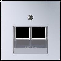 A500 Накладка для комп./тлф. розетки 2хRJ45, алюм.