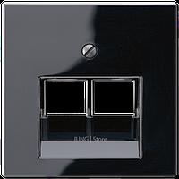 A500 Накладка для комп./тлф. розетки 2хRJ45, чёрн.
