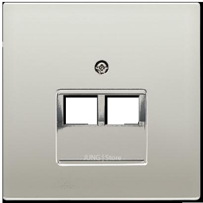 LSmetal Накладка для комп. розетки 2хRJ45, стальн.